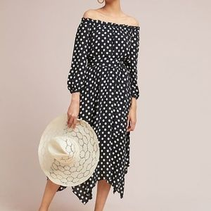 Anthropologie Maeve Off Shoulder Dotted Dress B/W